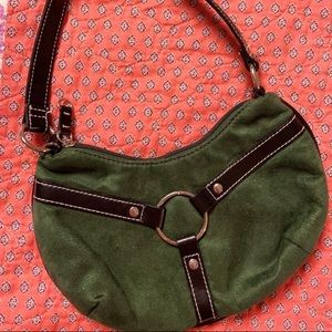 Tommy Hilfiger Green suede handbag small tote